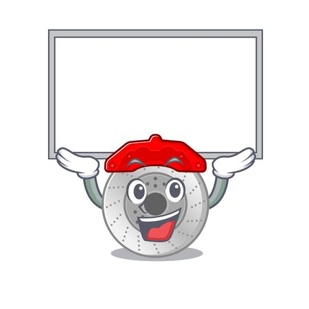 A mascot picture of car brake raised up board