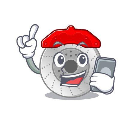 Karikaturdesign der Autobremse, die an einem Telefon spricht Vektorgrafik