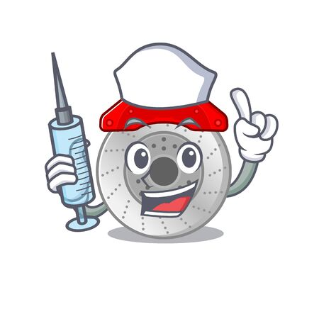 Smiley Nurse car brake cartoon character with a syringe