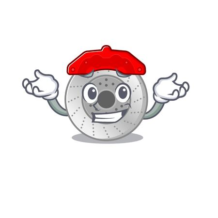 Super Funny Grinning car brake mascot cartoon style