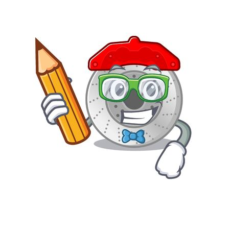 A picture of Student car brake character holding pencil