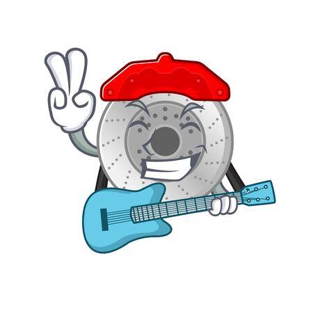 A mascot of car brake performance with guitar Ilustração