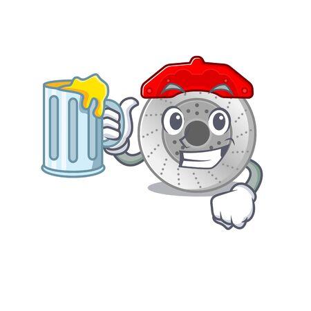 Happy car brake mascot design with a big glass Ilustração
