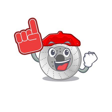 Car brake mascot cartoon style holding a Foam finger