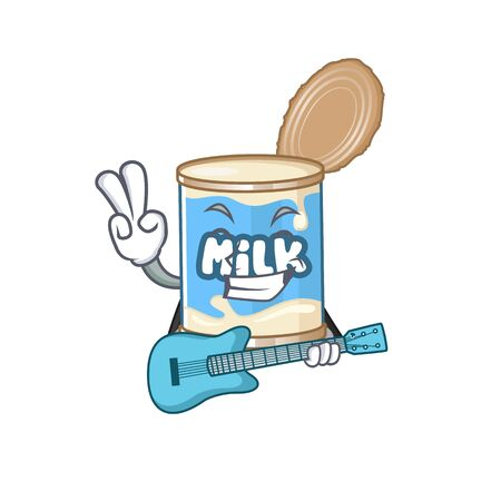 A mascot of condensed milk performance with guitar