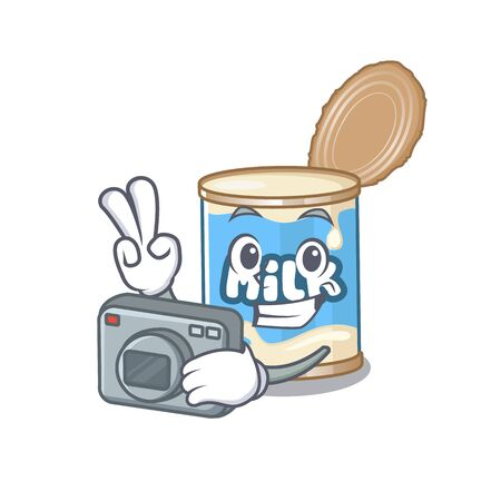 Cool Photographer condensed milk character with a camera Illustration