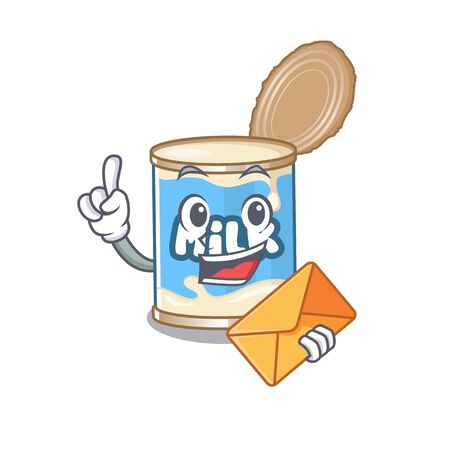 Cheerfully condensed milk mascot design with envelope Illustration