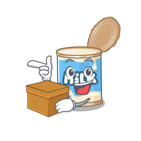 Cute condensed milk cartoon character having a box Ilustração