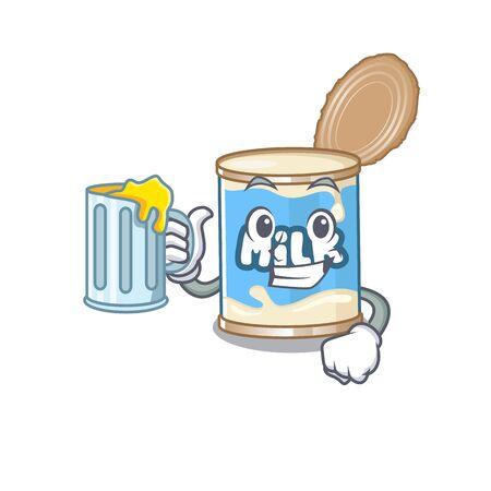 Happy condensed milk mascot design with a big glass