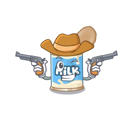 Condensed milk dressed as a Cowboy having guns