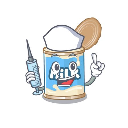 Smiley Nurse condensed milk cartoon character with a syringe