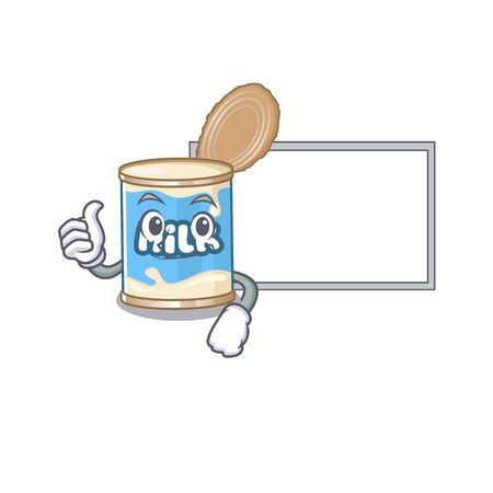 Thumbs up of condensed milk cartoon design with board Ilustração
