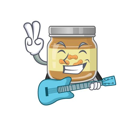 A mascot of peanut butter performance with guitar. Vector illustration