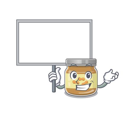 A cute picture of peanut butter cute cartoon character bring a board. Vector illustration