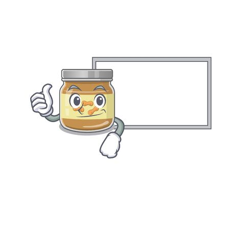 Thumbs up of peanut butter cartoon design with board. Vector illustration