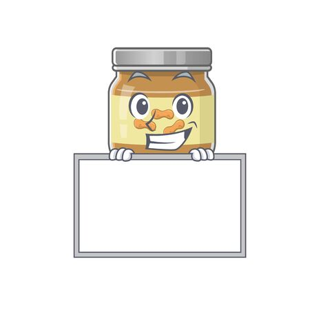 A cute picture of peanut butter grinning with board. Vector illustration
