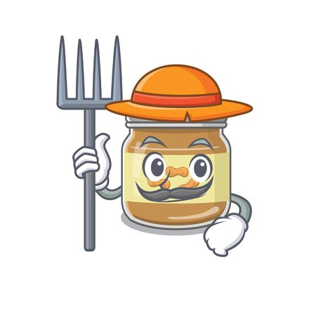 Cheerfully Farmer peanut butter cartoon picture with hat and tools. Vector illustration