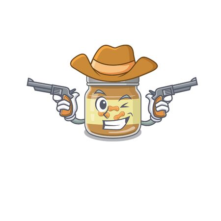 Peanut butter dressed as a Cowboy having guns. Vector illustration