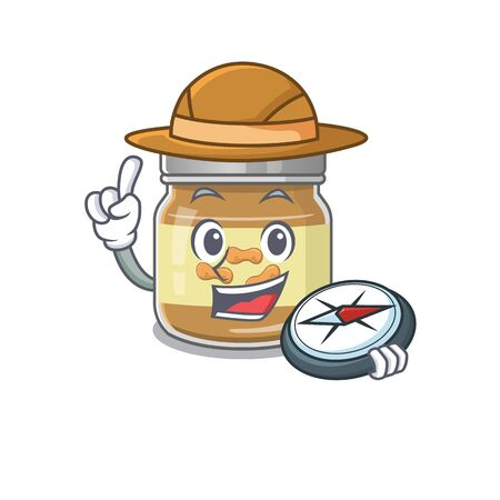 Peanut butter stylized Explorer having a compass. Vector illustration