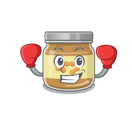 Sporty Boxing peanut butter mascot character style. Vector illustration