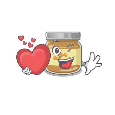 Funny Face peanut butter cartoon character holding a heart. Vector illustration