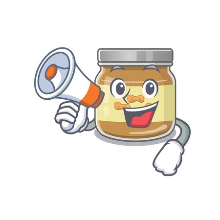 An icon of peanut butter having a megaphone. Vector illustration