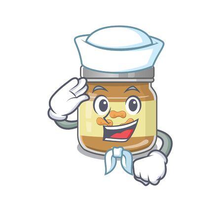 A mascot design of peanut butter Sailor wearing hat. Vector illustration