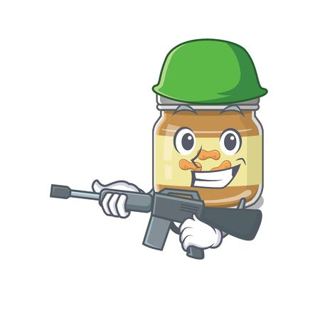 A cartoon design of peanut butter Army with machine gun. Vector illustration