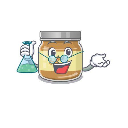 Smart Professor peanut butter cartoon character with glass tube. Vector illustration