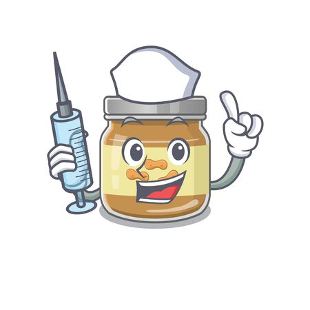 Smiley Nurse peanut butter cartoon character with a syringe. Vector illustration