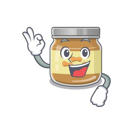 A picture of peanut butter making an Okay gesture. Vector illustration