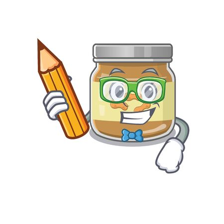 A picture of Student peanut butter character holding pencil. Vector illustration