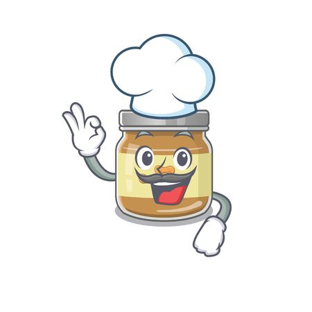 Peanut butter cartoon character wearing costume of chef and white hat. Vector illustration Illustration