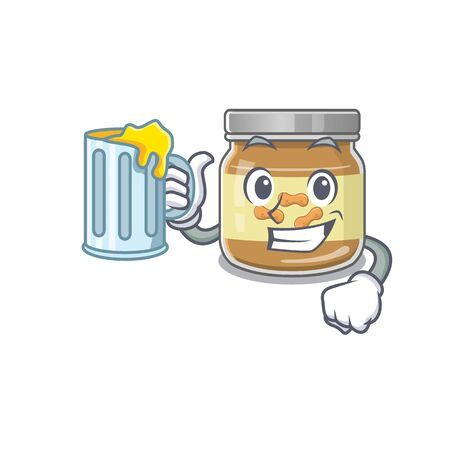 Happy peanut butter mascot design with a big glass. Vector illustration