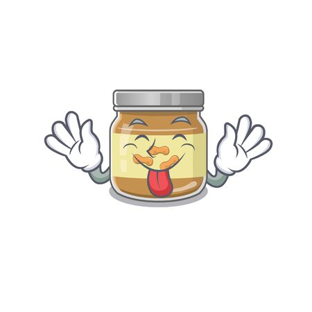 Cute peanut butter cartoon mascot style with Tongue out. Vector illustration