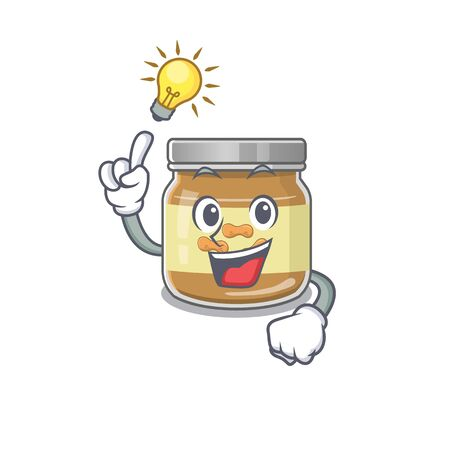 Have an idea gesture of peanut butter cartoon character design. Vector illustration