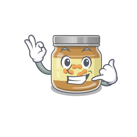 Call me funny peanut butter mascot picture style. Vector illustration