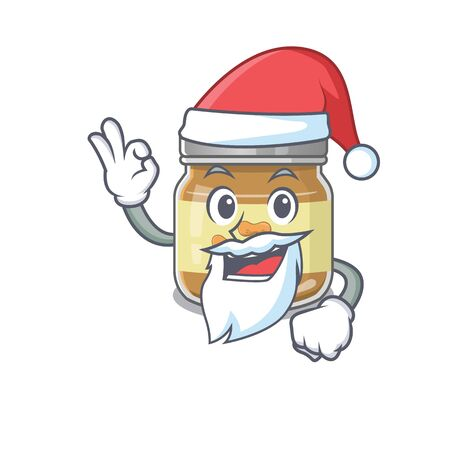 A picture of Santa peanut butter mascot picture style with ok finger. Vector illustration