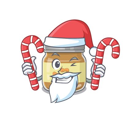 Peanut butter Cartoon character in Santa costume with candy. Vector illustration
