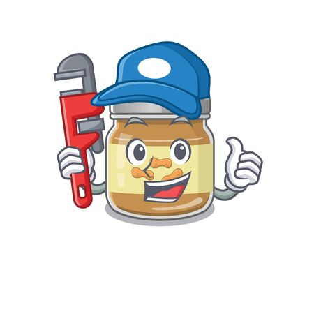 Cool Plumber peanut butter on mascot picture style. Vector illustration Illustration