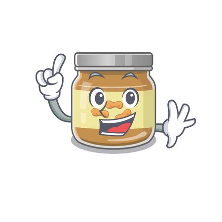 One Finger peanut butter in mascot cartoon character style. Vector illustration