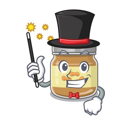 A picture of peanut butter performance as a Magician. Vector illustration