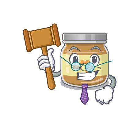 Smart Judge peanut butter in mascot cartoon character style. Vector illustration