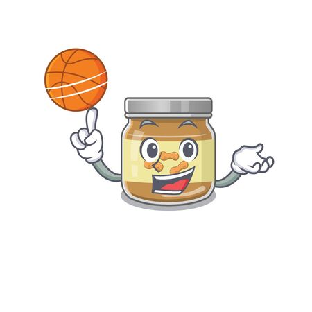 A mascot picture of peanut butter cartoon character playing basketball
