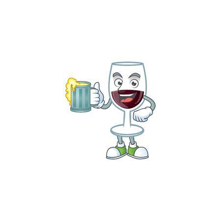 Happy red glass of wine mascot design with a big glass. Vector illustration Ilustração