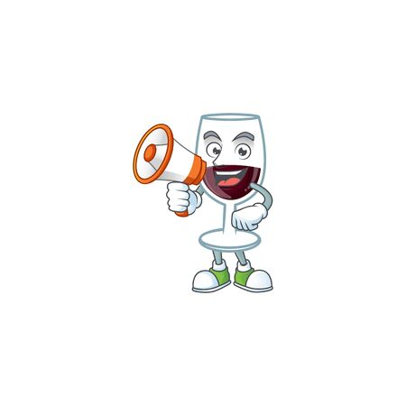 Cool cartoon character of red glass of wine holding a megaphone. Vector illustration