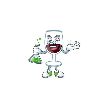Smart Professor red glass of wine cartoon character with glass tube. Vector illustration Ilustração