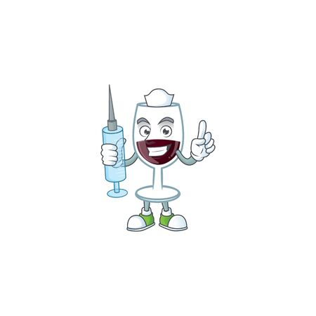 Smiley Nurse red glass of wine cartoon character with a syringe. Vector illustration Ilustrace