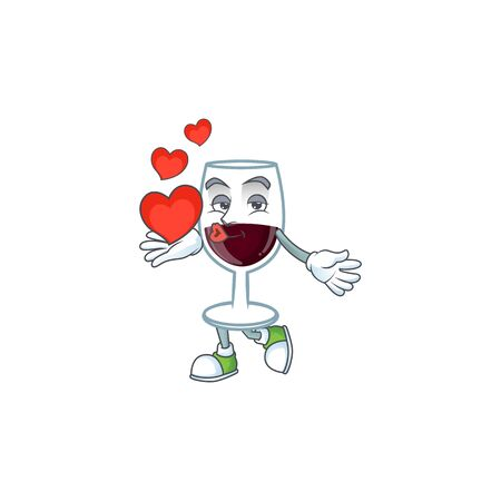 Funny Face red glass of wine cartoon character holding a heart. Vector illustration