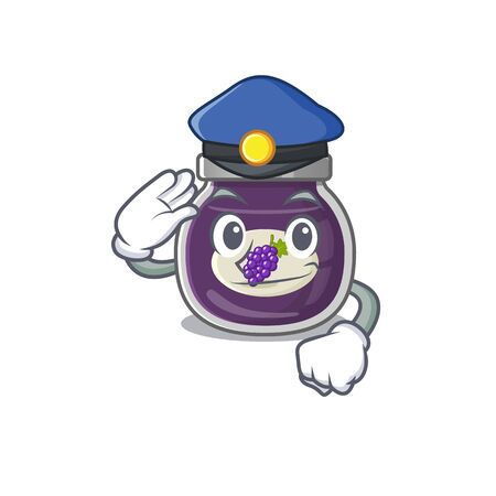 Grape jam Cartoon mascot performed as a Police officer